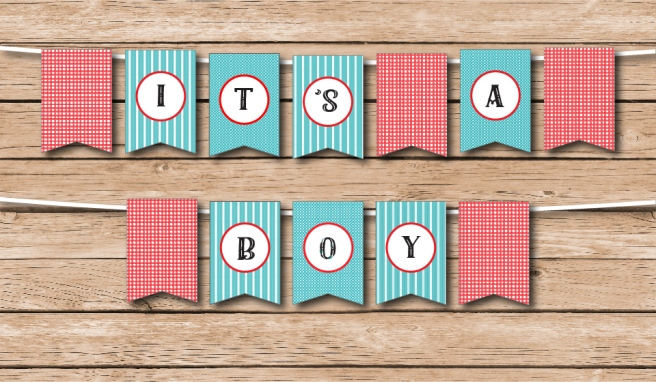 It's A Boy Country Fair Shower Bunting | https://www.etsy.com/shop/Preperie