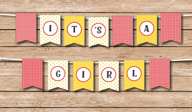 It's a Girl Country Fair Shower Bunting | https://www.etsy.com/shop/Preperie
