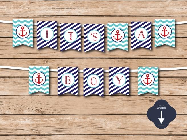 It's a Boy Nautical Baby Shower Banner | www.etsy.com/shop/preperie