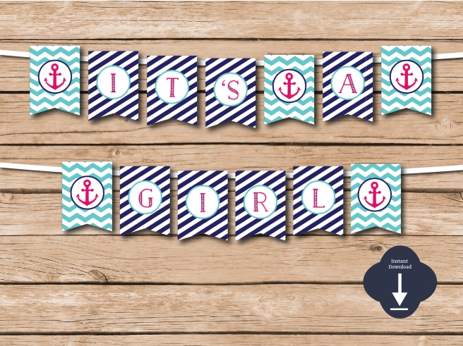 It's a Girl Nautical Banner | www.etsy.com/shop/preperie