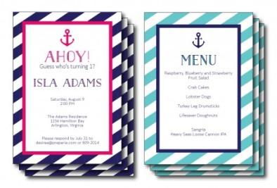 Nautical Invitation and Menu | preperie.com