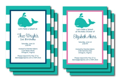 Aqua, Pink, Navy Whale Invite | preperie.etsy.com