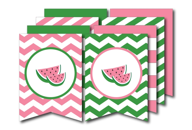 Pink and Green Watermelon Banner | preperie.etsy.com