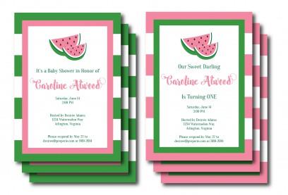 Pink and Green Watermelon Invitation | preperie.etsy.com