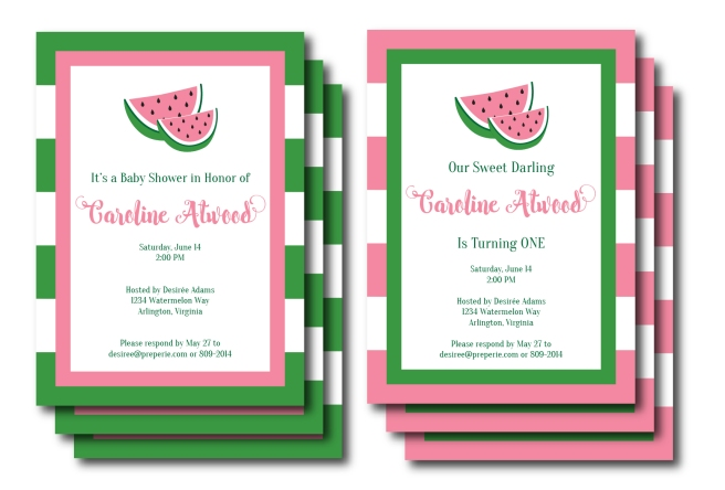 Pink and Green Watermelon Invitation | preperie.etsy.com