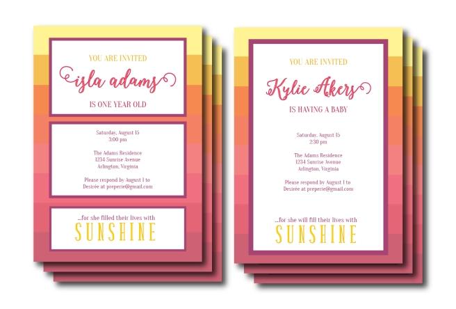 Ombre Sunset Invitation and Menu | preperie.etsy.com