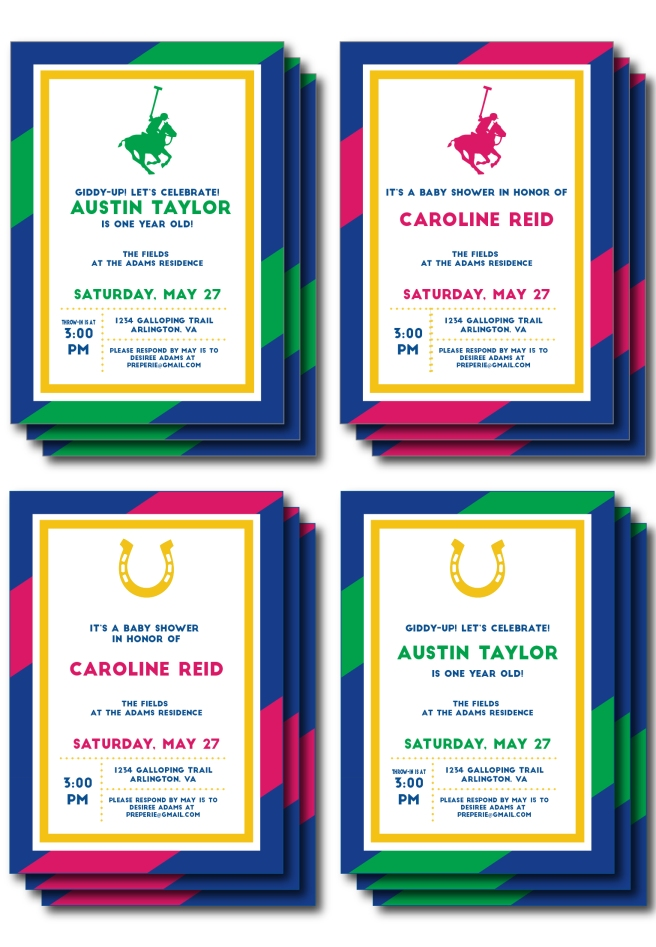 Pink, Blue, Green Polo and Horseshoe Invitations | preperie.etsy.com