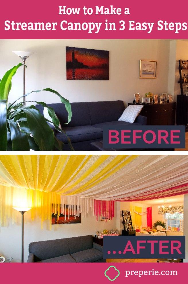 Tutorial: How to Make a DIY Streamer Canopy Ceiling
