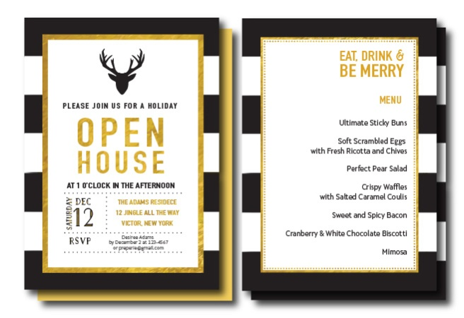 Preppy Gold, Black, White Holiday Open House Invitation | preperie.etsy.com