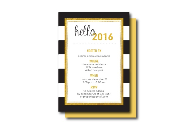 Black, White, Gold Hello 2016 New Year's Invitation | www.preperie.etsy.com