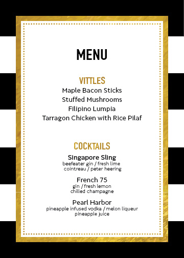 New Year's Speakeasy Menu | preperie.com