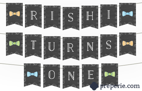 Bubbles & Bowties Birthday Banner | preperie.com