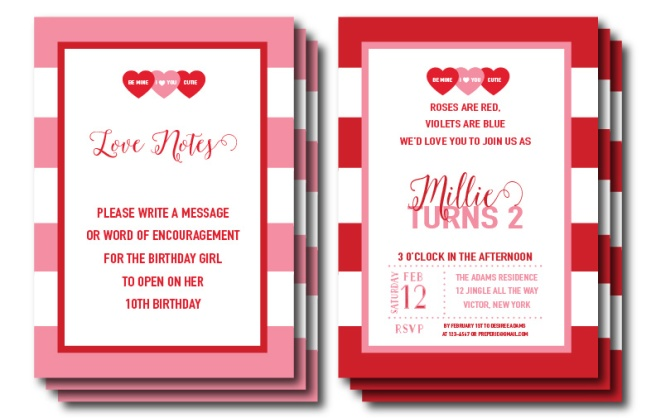 Conversation Heart Valentine Invitation | https://preperie.etsy.com